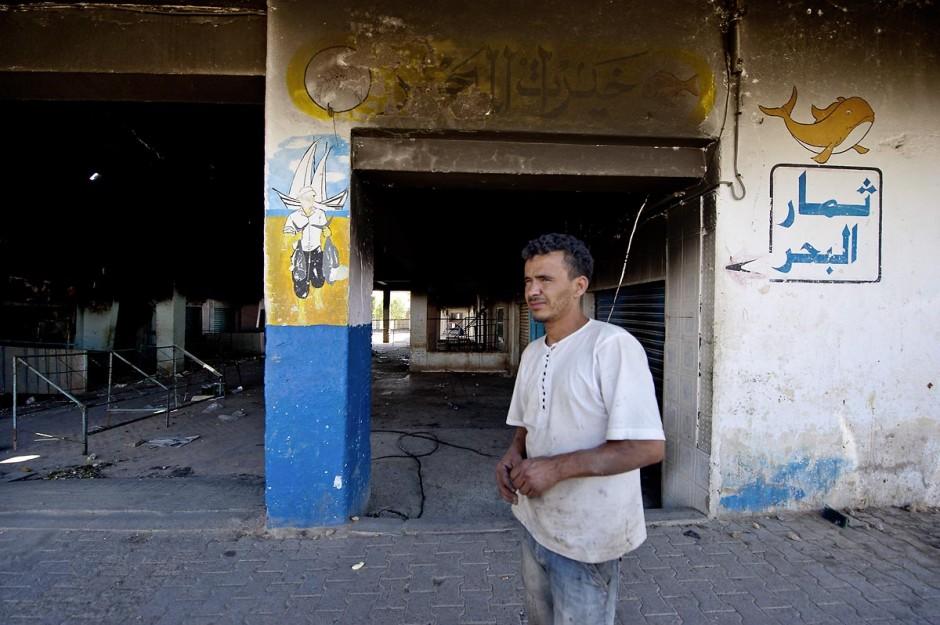 Le marché central a été brûlé lors des affrontements du 3 au 5 juin 2011 dans la ville de Metlaoui