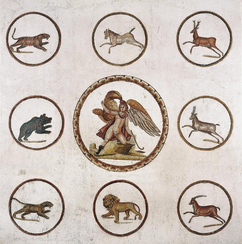 Enlévement de Ganymède, mosaique du III ap JC, musee de Sousse