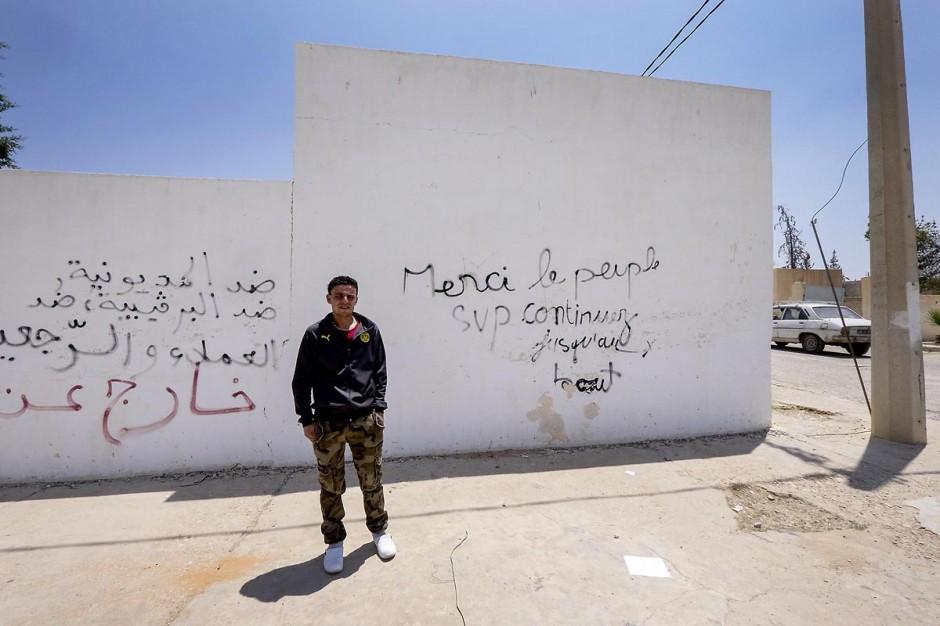 13 juin 2014 : Safouane Bouaziz, 30 ans, à Menzel Bouzaiane, centre sud de la Tunisie et coeur de la révolution de 2011. Safouane est l