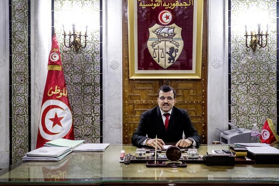 25 mars 2013 : Ali Larayedh, Chef du Gouvernement tunisien dans son bureau à la Kasbah. Nommé Premier ministre le 8 mars dernier suite à la demission de Hammadi Jebali secrétaire général de son parti Ennahdha, il vient de former son gouvernment le 13 mars.
